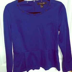 Studded royal blue peplum blouse